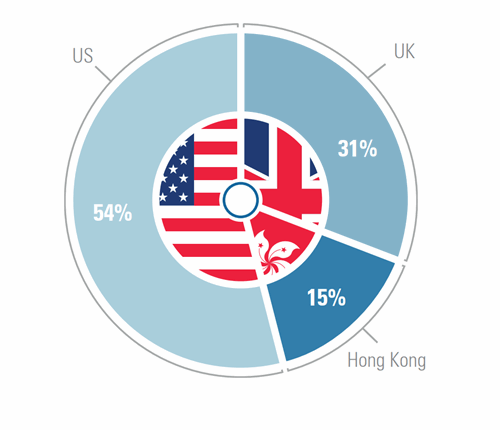 Pie chart (UK, US and HK)
