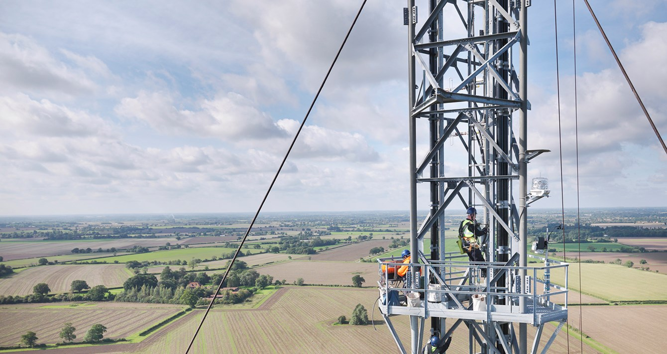 Working on a transmission tower