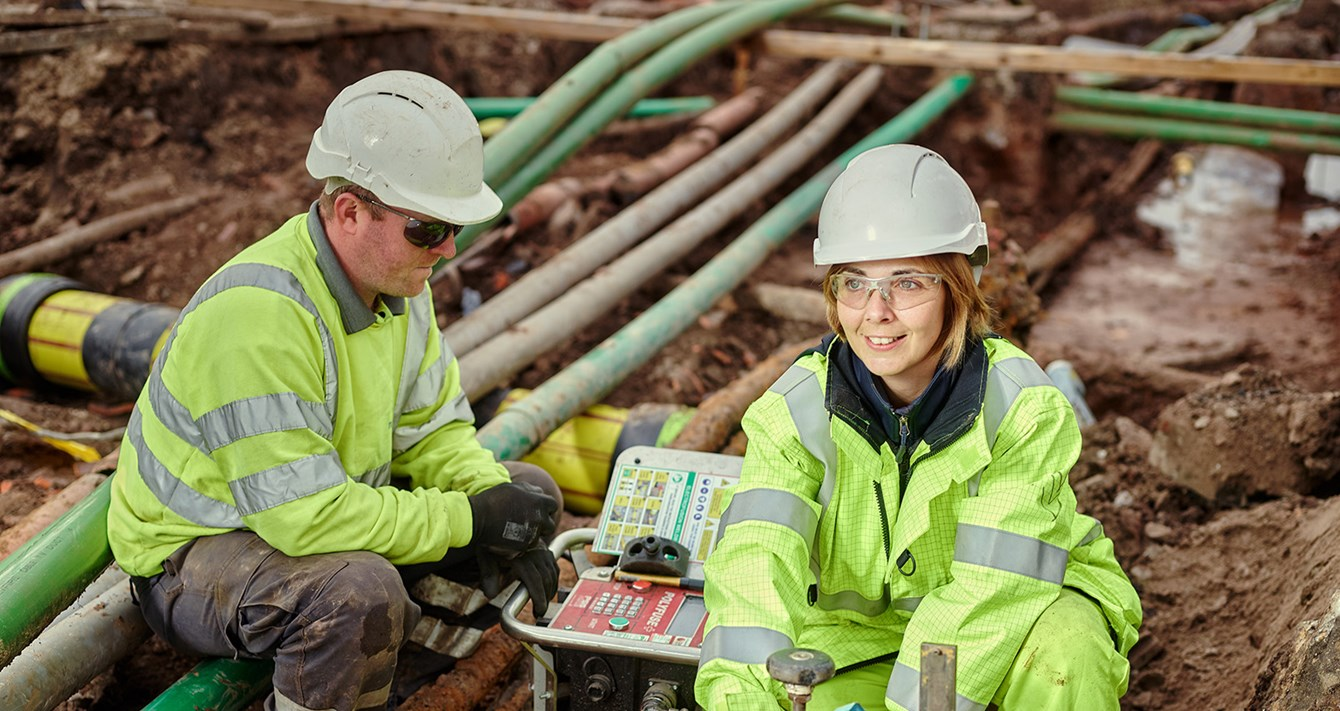 Woman working on gas network